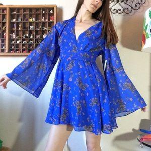 Free People Lilou Floral Belle Sleeve Mini Dress